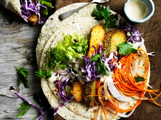 Crumbed zucchini and slaw wraps