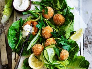Carrot and harissa falafel with tahini yoghurt