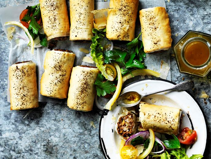 "Reinvent a childhood favourite with these [lentil sausage rolls](https://www.womensweeklyfood.com.au/recipes/lentil-sausage-rolls-with-tomato-sumac-salad-29441|target=""_blank"") with tomato sumac salad - tasty, wholesome and completely meat free!"