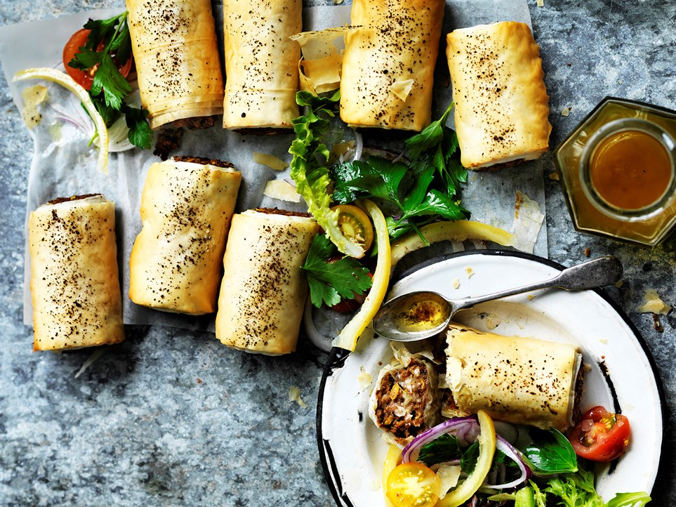 """These [lentil sausage rolls](https://www.womensweeklyfood.com.au/recipes/lentil-sausage-rolls-with-tomato-sumac-salad-29441
