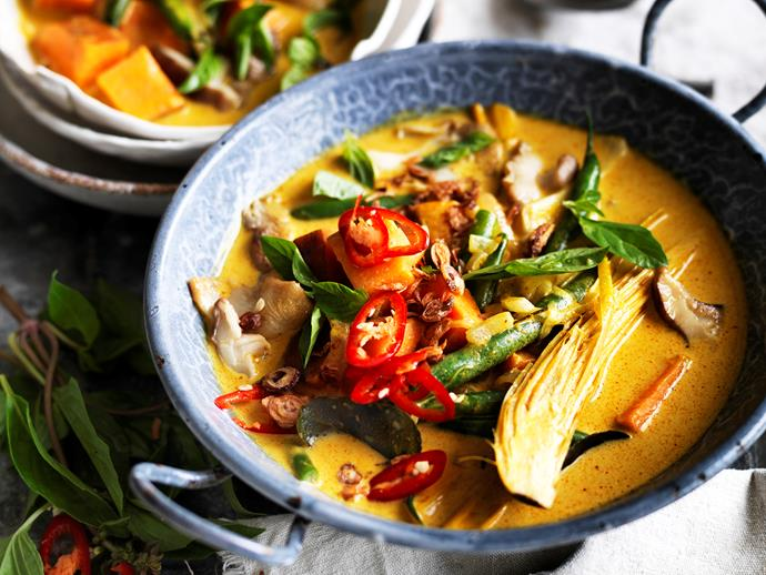 "Spice things up in the kitchen tonight with this delicious [vegetarian Thai yellow curry](https://www.womensweeklyfood.com.au/recipes/thai-yellow-curry-29442|target=""_blank"") from The Australian Women's Weekly's [Almost Vegetarian](https://www.magshop.com.au/almost-vegetarian