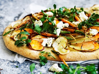 Root vegetable tray pizza