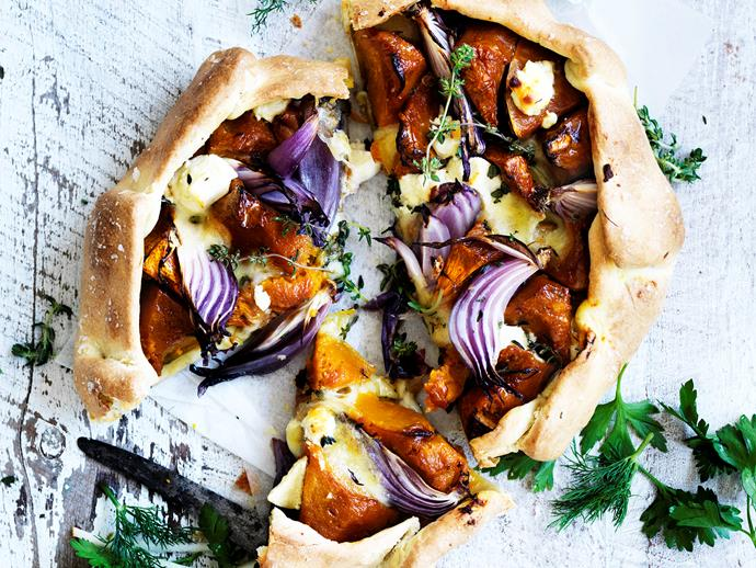 "This nourishing [pumpkin and feta free-form tart](https://www.womensweeklyfood.com.au/recipes/pumpkin-and-feta-freeform-tart-29445|target=""_blank"") makes a healthy and delicious dinner, lunch or tea any day of the week!"