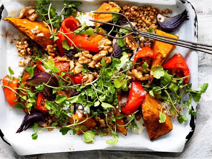 "**[Lebanese roasted pumpkin salad](https://www.womensweeklyfood.com.au/recipes/lebanese-roasted-pumpkin-salad-29447|target=""_blank"")**  Looking for delicious and healthy vegetarian dinner ideas? Then don't go past this wholesome Lebanese roasted pumpkin salad - a tasty and nutritious crowd-pleasing dish!"