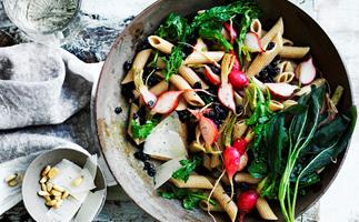 Pasta with radishes and their tops