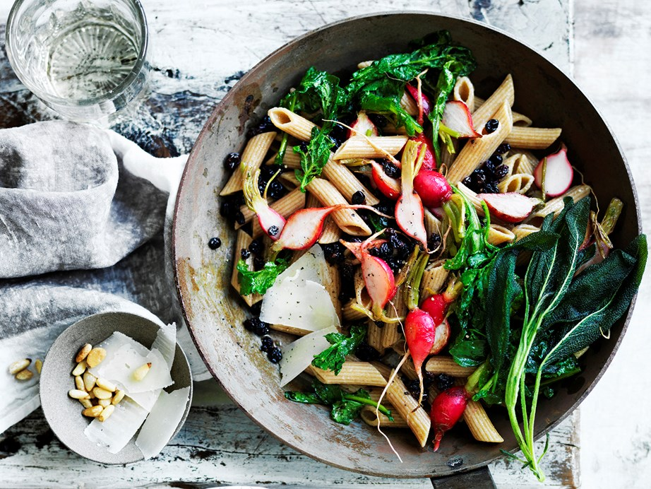 "You'll get a kick our of our **[pasta with radishes and their tops](https://www.womensweeklyfood.com.au/recipes/pasta-with-radishes-and-their-tops-29450|target=""_blank"")**."