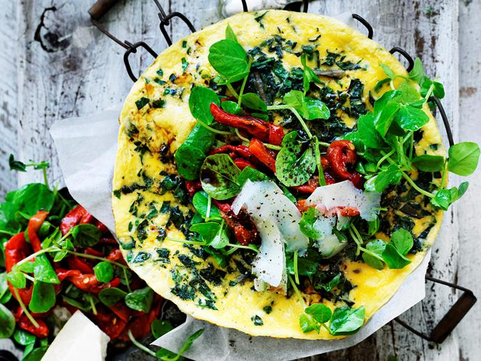 "[Silver beet omelette with capsicum salad](https://www.womensweeklyfood.com.au/recipes/silver-beet-omelette-with-capsicum-salad-29451|target=""_blank"")"