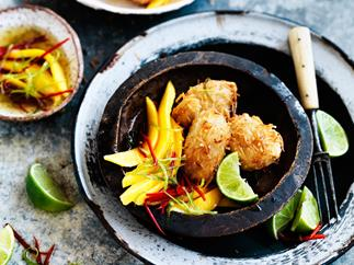 Coconut fritters with mango, chilli and lime
