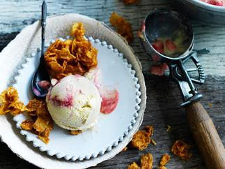 Raspberry ripple sweetcorn ice-cream