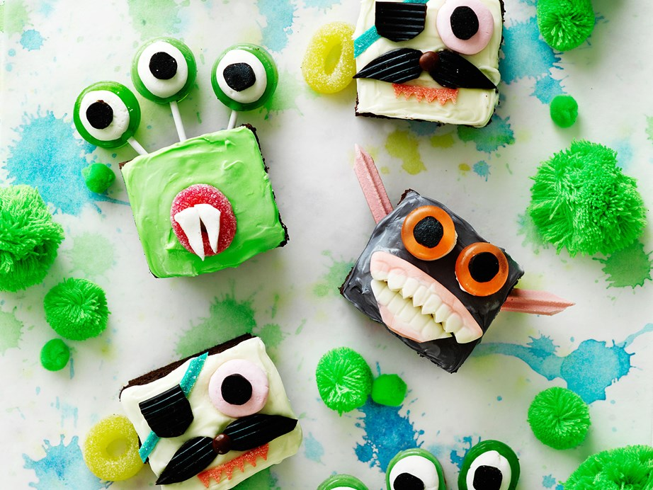 "**[Scary monster cupcakes](https://www.womensweeklyfood.com.au/recipes/scary-monster-cupcakes-29471|target=""_blank"")** <br><br> Using bought cake makes these creepy decorated cakes a breeze to put together for Halloween or a little monster's birthday party."