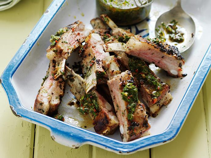 """**[Chermoulla lamb riblets](https://www.womensweeklyfood.com.au/recipes/chermoulla-lamb-riblets-1-29466 target=""""_blank"""")**  Served with an exotic herb mixture and warm couscous salad, these lamb riblets are perfect for a summer bbq."""