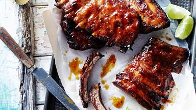 Sticky apricot and lime ribs