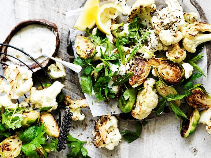 "**[Roasted cauliflower and brussels sprouts](https://www.womensweeklyfood.com.au/recipes/roasted-cauliflower-and-brussels-sprouts-29472|target=""_blank"")** Deliciously fresh and wholesome roasted cauliflower and brussels sprouts - a healthy dinner idea that will suit the whole family."