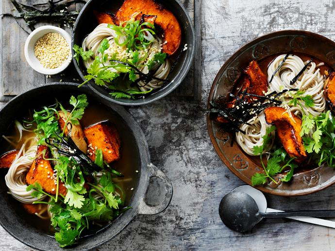 "**[Miso broth with tamari pumpkin and noodles](https://www.womensweeklyfood.com.au/recipes/miso-broth-with-tamari-pumpkin-and-noodles-29473|target=""_blank"")** Warm up with this wholesome nourishing miso broth with tamari pumpkin and noodles. The perfect combination for a meat-free dinner idea."