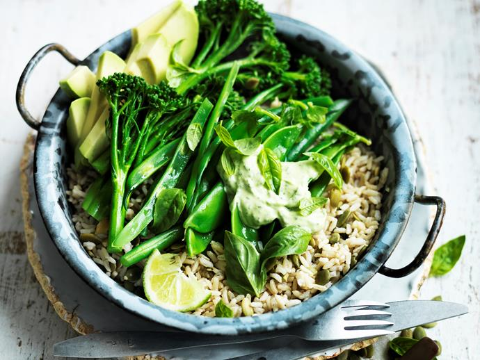 "**[Green goodness in a bowl](https://www.womensweeklyfood.com.au/recipes/green-goodness-in-a-bowl-29476|target=""_blank"")** This delicious bowl of green goodness makes for a tasty, nourishing meal. Quick, easy, and full of superpower ingredients - you simply can't go wrong!"