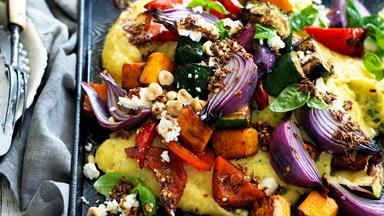 Roast vegetables with basil and feta polenta