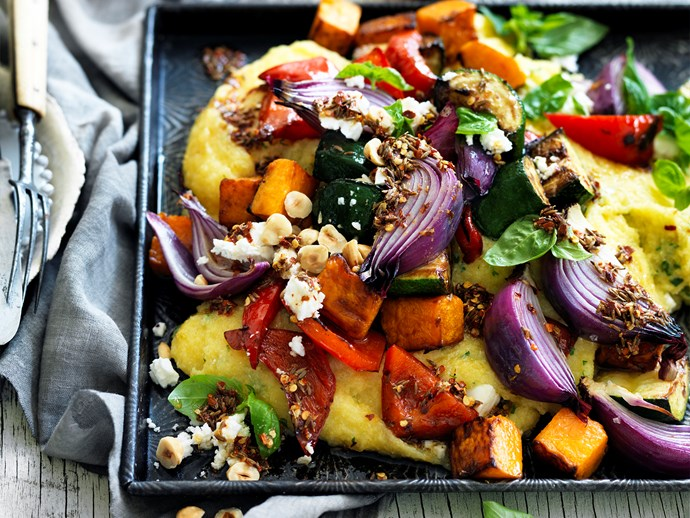 "Try tossing feta through this delicious [roasted vegetables and polenta recipe](http://www.foodtolove.com.au/recipes/roast-vegetables-with-basil-and-feta-polenta-30901|target=""_blank"") - delicious!"
