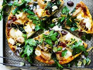 Potato, capsicum and spinach frittata