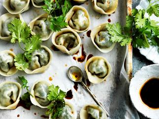 Green dumplings with soy chilli dipping sauce