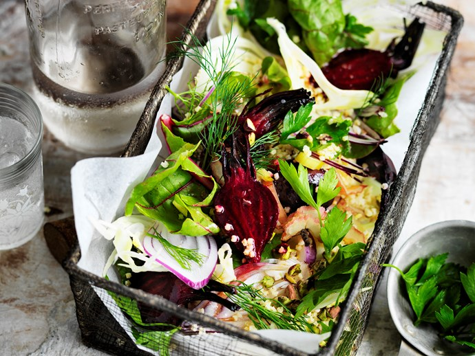 Roasted beetroot and millet salad