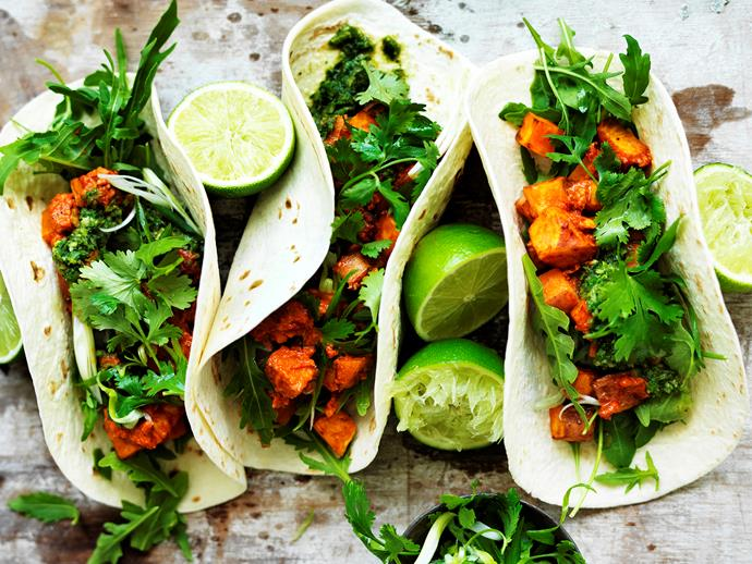 """**[Kumara and chorizo tacos](http://www.foodtolove.com.au/recipes/kumara-and-chorizo-tacos-30907