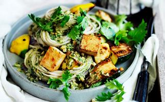 Zucchini and tofu noodles with coriander pesto