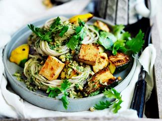 Zucchini and tofu noodles with coriander pesto
