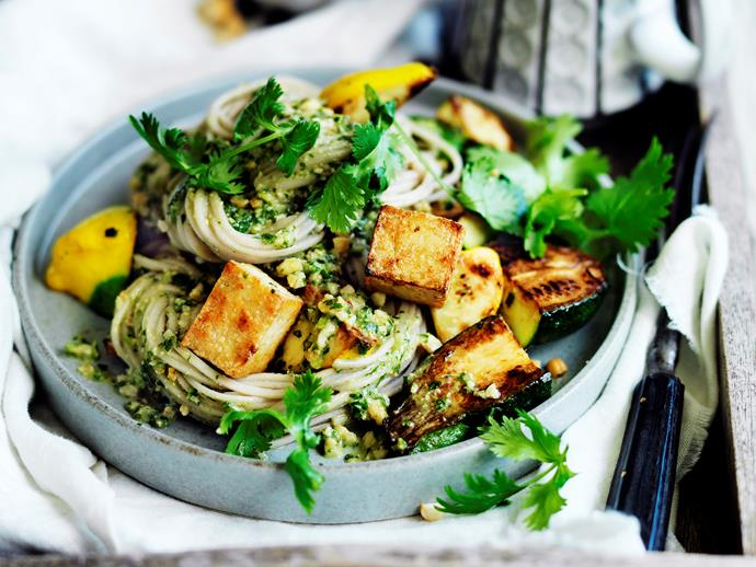 "Fuel your body with wholesome [zucchini and tofu noodles and coriander pesto](https://www.womensweeklyfood.com.au/recipes/zucchini-and-tofu-noodles-with-coriander-pesto-29486|target=""_blank"") - a delicious combination full of nourishing goodness!"