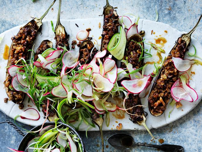 "[Walnut and miso-filled eggplant with radish salad](https://www.womensweeklyfood.com.au/recipes/walnut-and-miso-filled-eggplant-with-radish-salad-29487|target=""_blank"")"