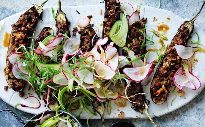 Walnut and miso filled eggplant with radish salad