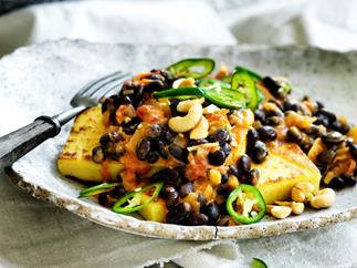 Chickpea 'tofu' with spiced black-eyed beans
