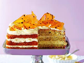 Orange passionfruit toffee cake