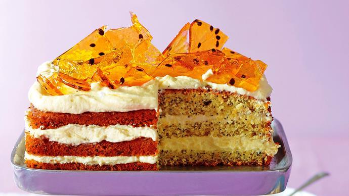 Orange passionfruit toffee cake