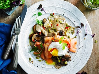 Mixed mushrooms with smoked salmon, egg and seed topping