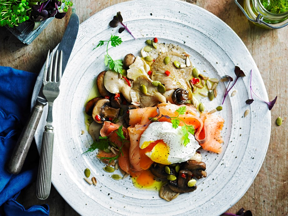 "**[Mixed mushrooms with smoked salmon, egg and seed topping](https://www.womensweeklyfood.com.au/recipes/mixed-mushrooms-with-smoked-salmon-egg-and-seed-topping-29499|target=""_blank"")**  This recipe proves a healthy start to the day can also be exciting."