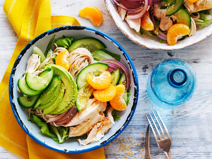 "This tasty [avocado and mandarin chicken noodle salad](https://www.womensweeklyfood.com.au/recipes/avocado-and-mandarin-chicken-noodle-salad-29500|target=""_blank"") makes the perfect light lunch or dinner."