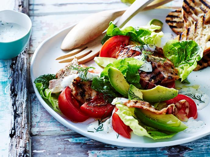 "This delicious [salad](https://www.womensweeklyfood.com.au/recipes/chilli-chicken-with-blt-salad-29501|target=""_blank"") combines all the flavours of a BLT sandwich (bacon, lettuce and tomato) with juicy chilli chicken pieces."