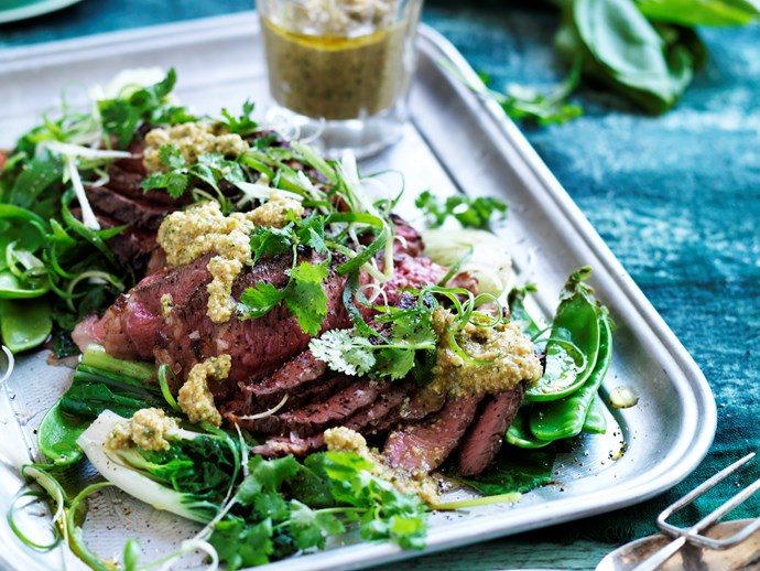 Beef with cashew nam jim and Asian greens