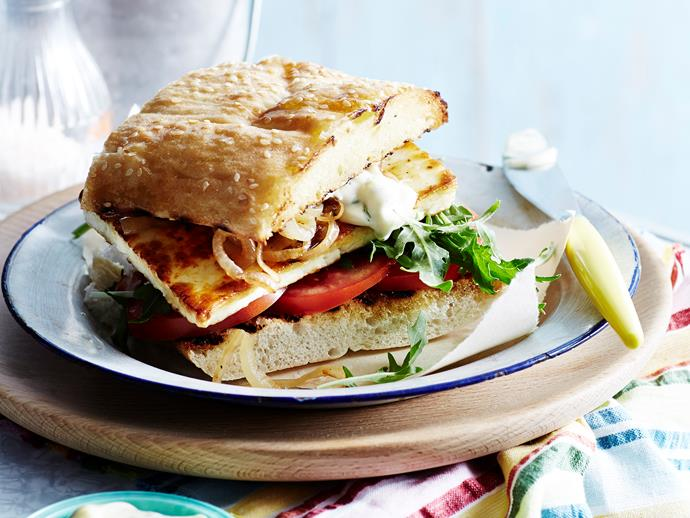 "**[Harissa haloumi burgers with mint mayonnaise](https://www.womensweeklyfood.com.au/recipes/harissa-haloumi-burgers-with-mint-mayonnaise-14794|target=""_blank"")** These delicious haloumi burgers are so good, you won't even miss the meat. The creamy mint mayonnaise perfectly balances the spicy harissa."