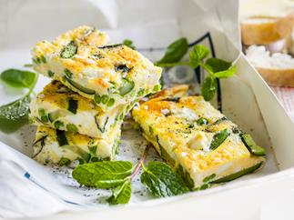 Asparagus and fetta frittata
