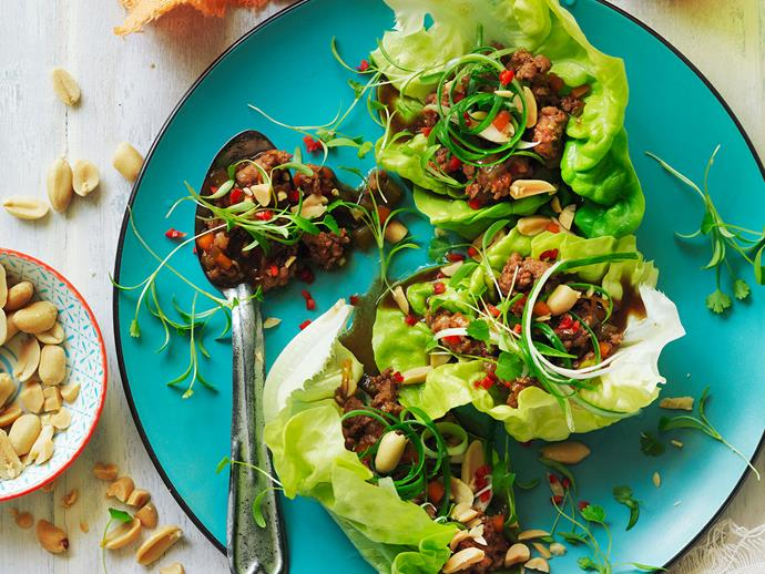 "**[Pork and veal san choy bow](https://www.womensweeklyfood.com.au/recipes/pork-and-veal-san-choy-bow-29508|target=""_blank"")**  For a delicious taste of China, these pork mince lettuce cups are perfect starters for a family and friends gathering."