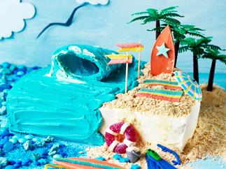 Surf's up at the beach cake