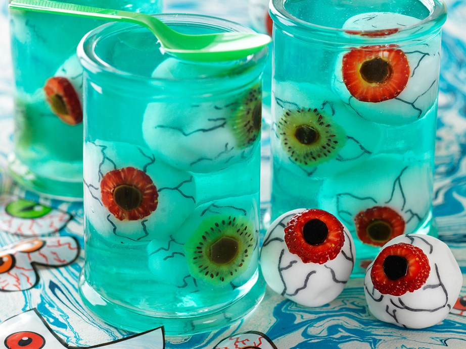 "**[Fruity eyeball cakes in lime jelly](https://www.womensweeklyfood.com.au/recipes/eyeball-jelly-29524|target=""_blank"")** <br><br> I'm watching you! These cake eyeballs in jelly are fantastic for kids birthdays and for Halloween parties. Scary and delicious - BOO!"