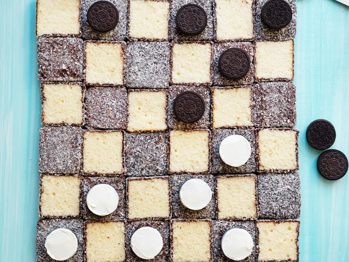 "**[Lamington checkers cake](https://www.womensweeklyfood.com.au/recipes/lamington-checkers-cake-29530|target=""_blank"")**  Play edible checkers with this game cake! Use pink lamingtons for a pink themed checkerboard cake, if you prefer."