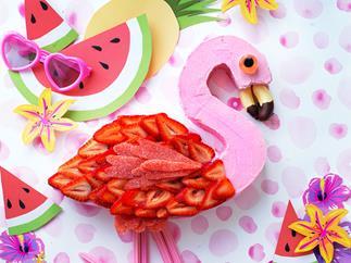 Pink flamingo cake
