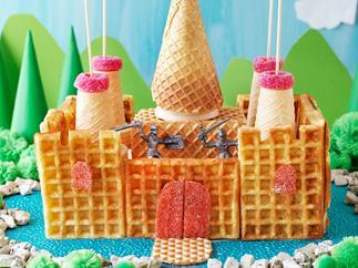 Waffle castle cake