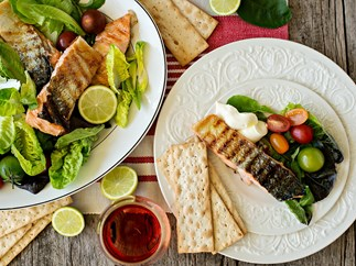 Barbecue grilled fish salad