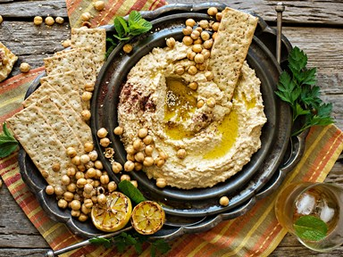 Lemony hummus with roasted chickpeas and olive oil