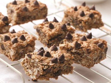 Chocolate, quinoa, seeds and nut snack bars