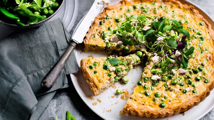 French pea and spring onion tart